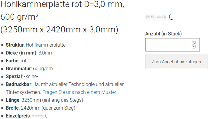 Screenshot der Polypropylen-Platten-Informationen