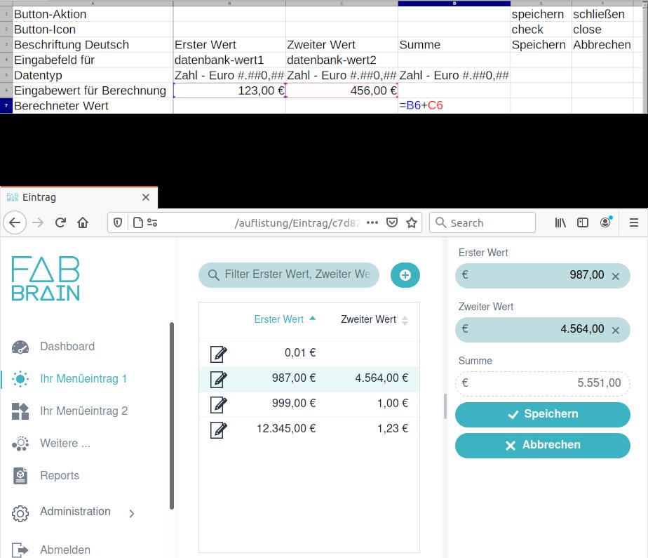 Excel-Tabelle und das daraus generierte Web-Eingabeformular