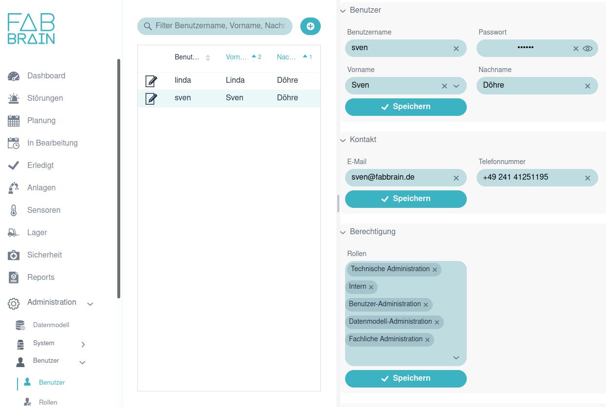 Screenshot der MES Software